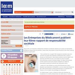 Les Entreprises du Médicament publient leur 6ème rapport de responsabilité sociétale