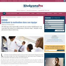 Entretenir la motivation dans son équipe - Manager - Studyrama Pro