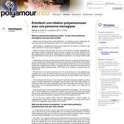 Entretenir une relation polyamoureuse avec une personne monogame