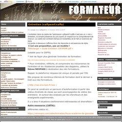 Entretien (cafipemf/caffa) - FORMATEUR