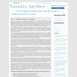 « L'entretien d'explicitation » P.Vermersch at Savoirs tacites - par Ariel Doulière