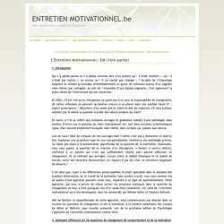 L'Entretien Motivationnel - EM (1ère partie) - ENTRETIEN MOTIVATIONNEL.be