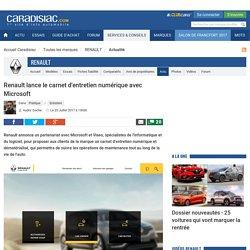 Renault lance le carnet d'entretien numérique avec Microsoft