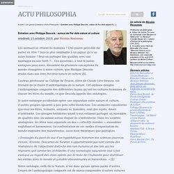 Entretien avec Philippe Descola : autour de Par delà nature et culture