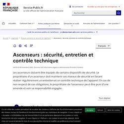 Sécurité, entretien et contrôle technique des ascenseurs