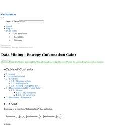 Data Mining - Entropy (Information Gain) [Gerardnico]