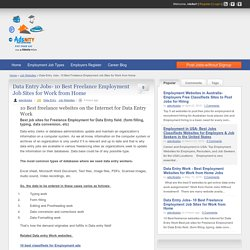 What are the best Freelance websites on the Internet to get Data Entry Work from Home Jobs