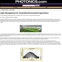 Light Management for Controlled-Environment Agriculture