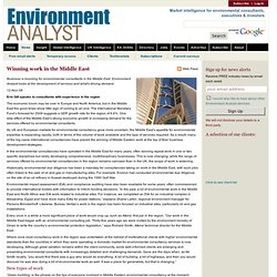 Environment Analyst | Winning work in the Middle East