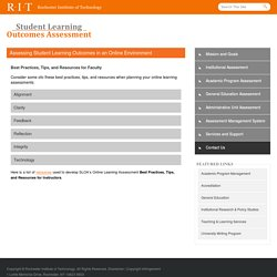 Assessing Student Learning Outcomes in an Online Environment