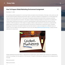 Prepare Global Marketing Environment Assignment