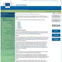 Commission Review of REACH Annexes - Environment