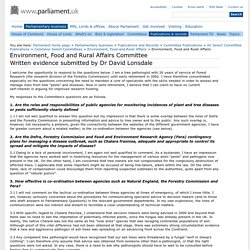 PARLIAMENT_UK - JANV 2013 - Are the roles and responsibilities of public agencies for monitoring incidences of plant and tree diseases or pests sufficiently clearly defined