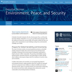 Environment, Peace, and Security Executive Seminar