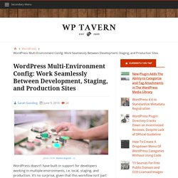 WordPress Multi-Environment Config: Work Seamlessly Between Development, Staging, and Production Sites – WordPress Tavern