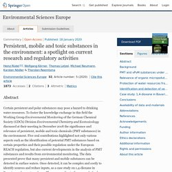 Environmental Sciences Europe 18/01/20 Persistent, mobile and toxic substances in the environment: a spotlight on current research and regulatory activities