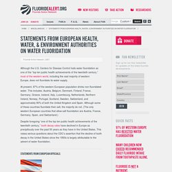 Statements from European Health, Water, & Environment Authorities on Water Fluoridation