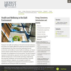 Health and Wellbeing in the Built Environment - Energy, Geoscience, Infrastructure and Society