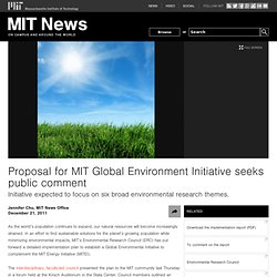 Proposal for MIT Global Environment Initiative seeks public comment
