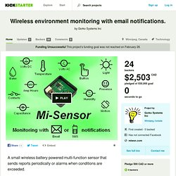 Wireless environment monitoring with email notifications. by Gorko Systems Inc