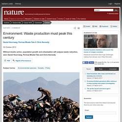 Environment: Waste production must peak this century