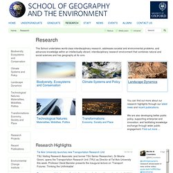 Research - School of Geography and the Environment, University of Oxford