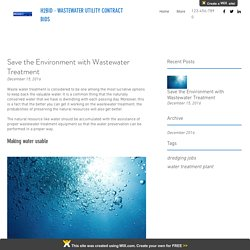 Save the Environment with Wastewater Treatment