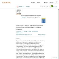 Does organic farming reduce environmental impacts? – A meta-analysis of European research