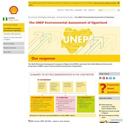 The UNEP Environmental Assessment of Ogoniland - Nigeria