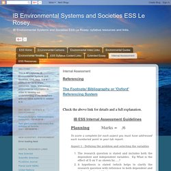 IB Environmental Systems and Societies ESS Le Rosey: Internal Assessment