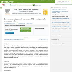 Environmental and economic assessment of ITO-free electrodes for organic solar cells