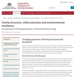 Family structure, child outcomes and environmental mediators - Changing patterns of family structure and formation