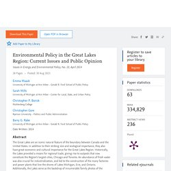 ENERGY AND ENVIRONMENT POLICY INITIATIVE - AVRIL 2014 - Environmental Policy in the Great Lakes Region: Current Issues and Public Opinion