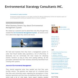Environmental Starategy Consultants INC.: What Business Owners Say About Environmental Management System