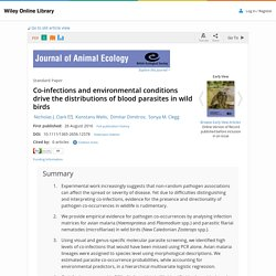 JOURNAL OF ANIMAL ECOLOGY 26/08/16 Co-infections and environmental conditions drive the distributions of blood parasites in wild birds