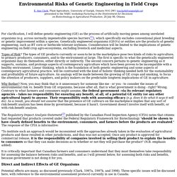 Environmental Risks of Genetic Engineering in Field Crops