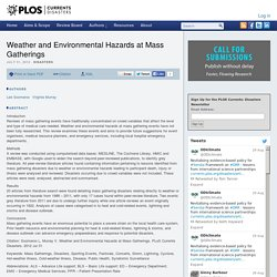 Weather and Environmental Hazards at Mass Gatherings – PLOS Currents Disasters