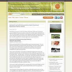 THE CORNUCOPIA INSTITUTE 26/02/10 Comments on Draft Environmental Impact Statement Glyphosate-Tolerant Alfalfa