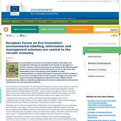 European Forum on Eco-innovation: environmental labelling, information and management schemes are central to the circular economy - Eco-innovation Action Plan