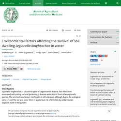 Ann Agric Environ Med 2016;23(3):452–455 Environmental factors affecting the survival of soil dwelling Legionella longbeachae in water
