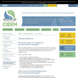 Careers Advice · Students & Careers · CIEEM - Chartered Institute of Ecology and Environmental Management