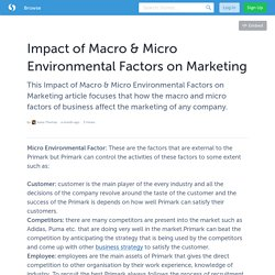 Impact of Macro & Micro Environmental Factors on Marketing