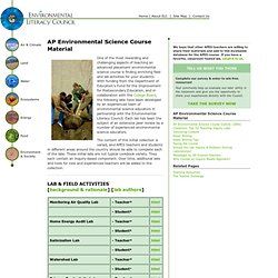 The Environmental Literacy Council - AP Environmental Science Course Material
