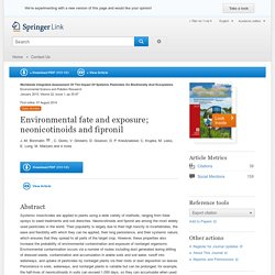 Environmental fate and exposure; neonicotinoids and fipronil