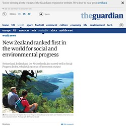 New Zealand ranked first in the world for social and environmental progress