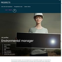 Environmental manager job profile