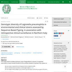 Ann Agric Environ Med 2016;23(2):248–253 Genotypic diversity of Legionella pneumophila in environmental and clinical strains assessed by Sequence-Based Typing, in association with retrospective clinical surveillance in Northern Italy