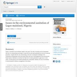 Issues in the environmental sanitation of Lagos mainland, Nigeria