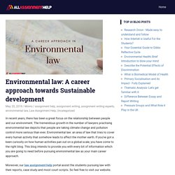Environmental law: A career approach towards Sustainable development