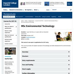 MSc Environmental Technology